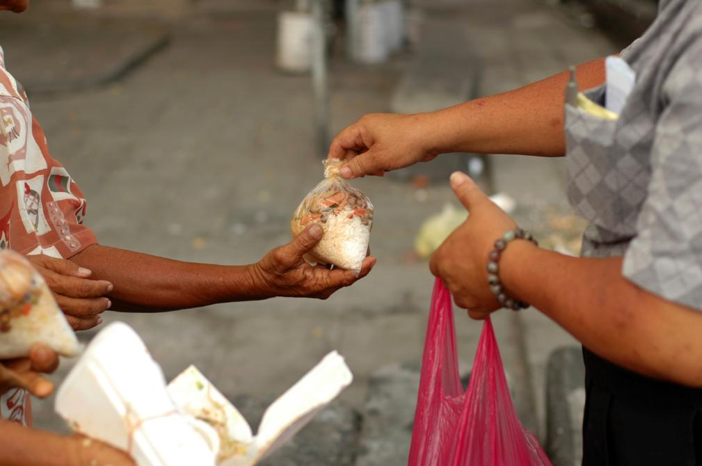 Giving food